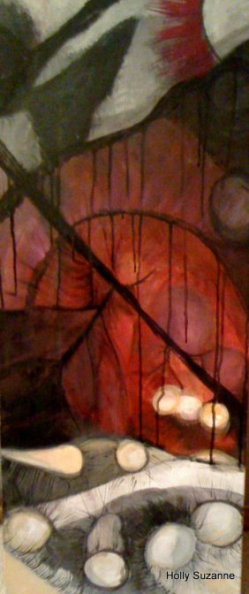 "Acrylic and Drawing Ink on Canvas, 40"" x 18""